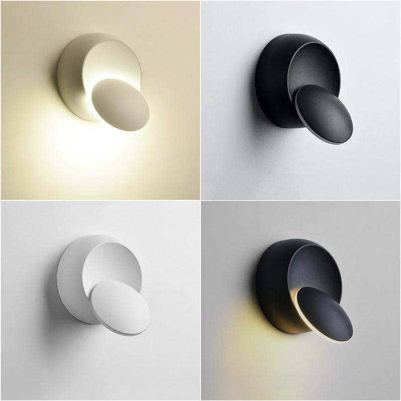 Lámpara de pared LED 360 grados de rotación ajustable luz nocturna negro blanco creativa lámpara de pared moderna pasillo lámpara redonda