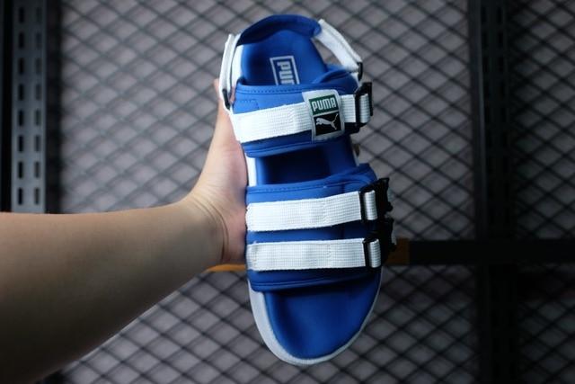 Puma leadcat YLM PUMA Slipper Sandals PUMA Strap Blue Black White Sandals  for men and women eaa4003f8