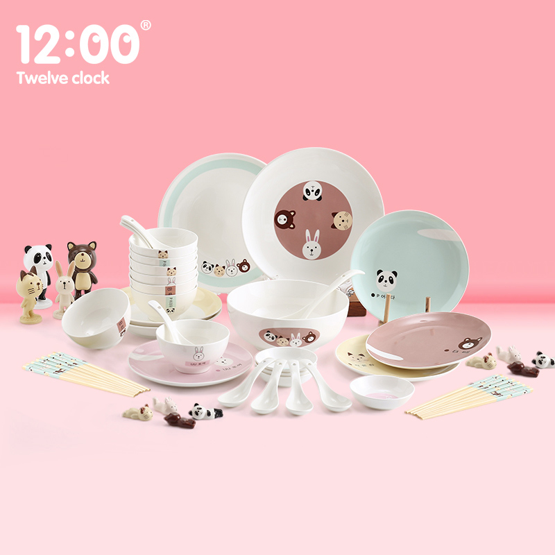 46Pcs/Set Ceramic Dinnerware Set Childrenu0027s Tableware Set Cute Cartoon Japanese  Dishes Bowls Plates Kitchen Accessories
