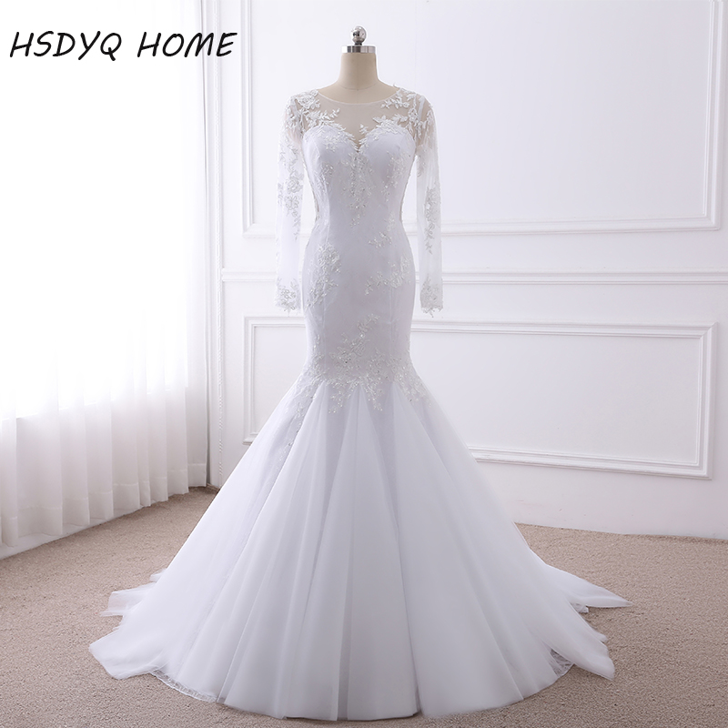 Robe De Mariage 2017 Long Sleeves Mermaid Wedding Dresses  African Vintage Vestido De Noiva Lace Wedding Dress Bride Dress