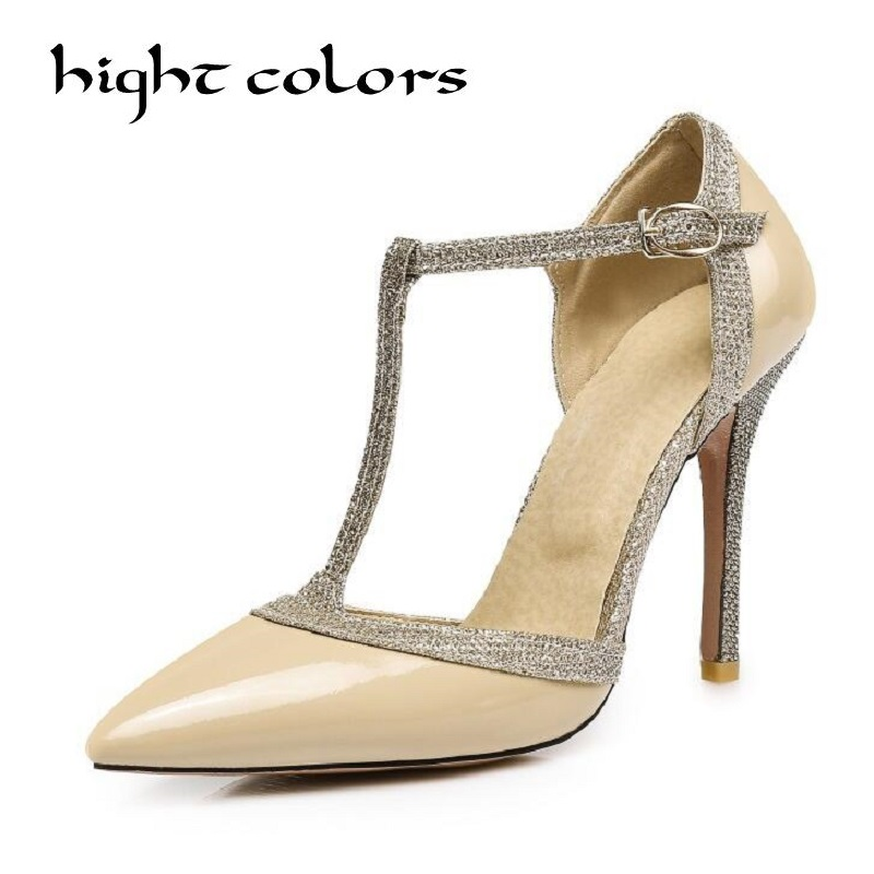 T type Buckle Fine With Sexy Pointed Patent Leather High Heels Shoes Party Wedding Women Pumps Heels OL Dress Shoes Sandals silver patent leather sexy ballet heels fetish shoes high heels pumps silver heels ladies party shoes 2017 ballet dance shoes