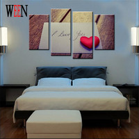 4 Panels Loving Heart Print Canvas Printings Modern Wall Art Pictures For Home Wall Art Decor
