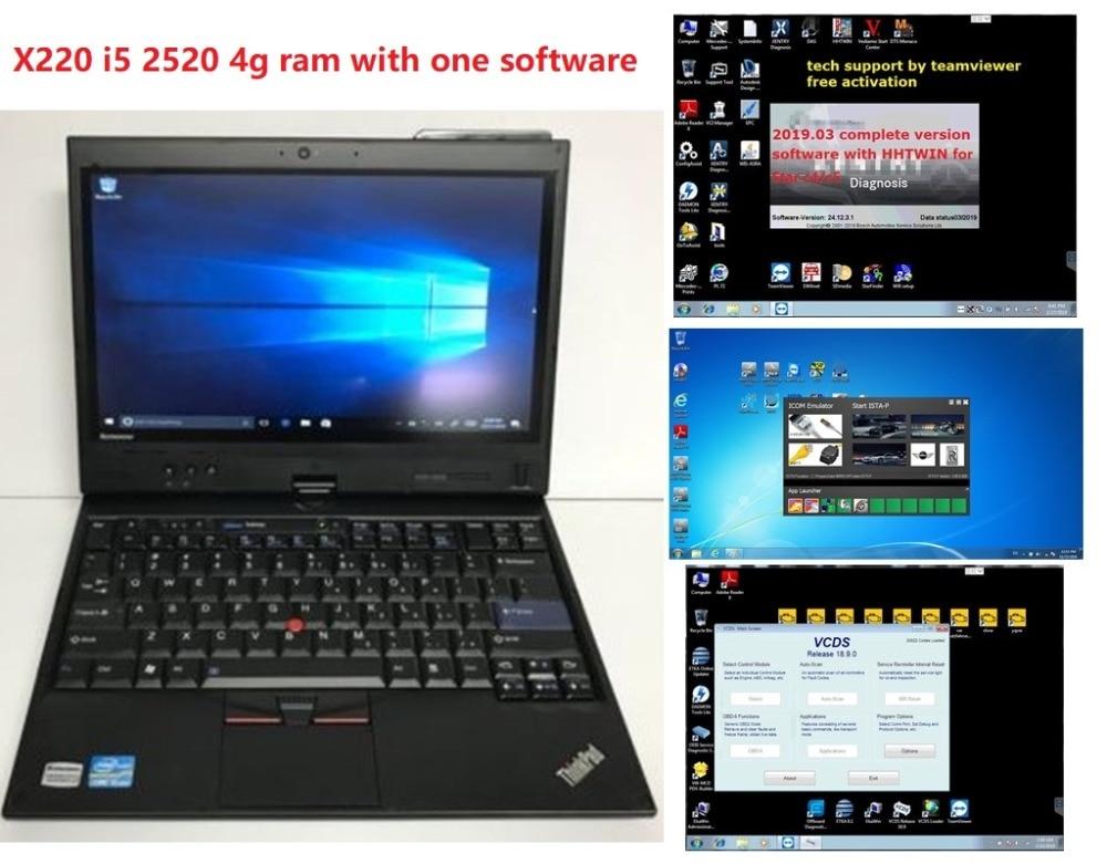 Lenovo X220T 12.5 Laptop Core i5 2520M 2.5Ghz 4GB Win 7 Pro Tablet with Star C4/C5/Icom A2/icom next/icom p/VAS 5054 software