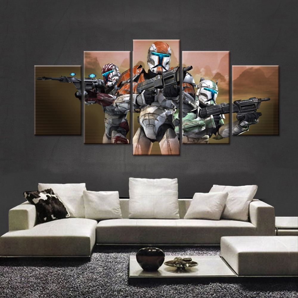 unique canvas wall framed art modular picture canvas painting 5 panels game character for modern living room decorative poster - Unique Picture Frames
