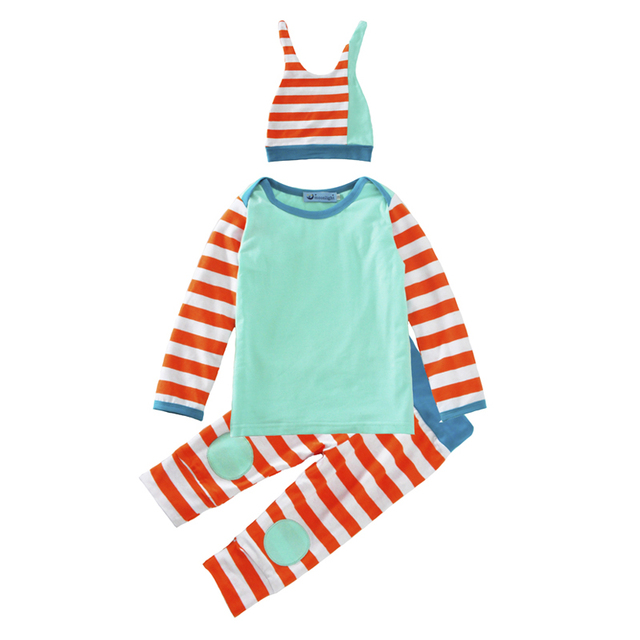 Весна Baby Boy Одежда Набор 2017 Мода Сращивание футболка + Полосой Брюки + Колпак 3 шт. Девочка Мальчик Ребенок комплект Весна Новорожденных детская Одежда