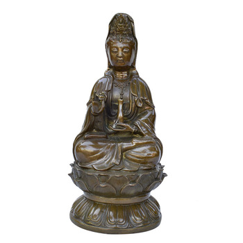 Antique bronze metal crafts Home Furnishing business office hand carved religious peace Guanyin ornaments
