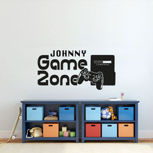 Gamer Wall Sticker Customized Name Game Zone Decal Video Controller Wallpaper Kids Bedroom Vinyl Art AY1196