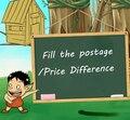 Preencher a diferença de preço postagem