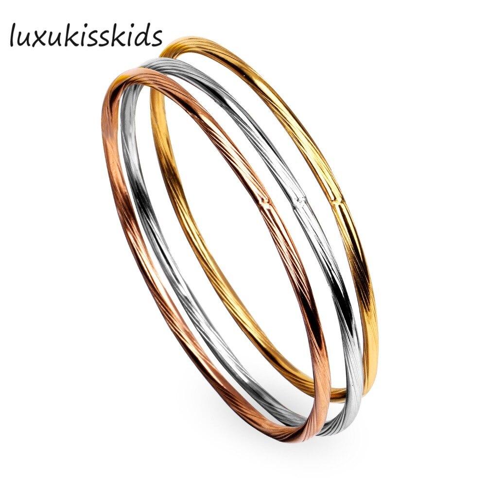 LUXUKISSKIDS полый цилиндр круглые браслеты (3 шт./компл.), Нержавеющаясталь, вакуумные позолота