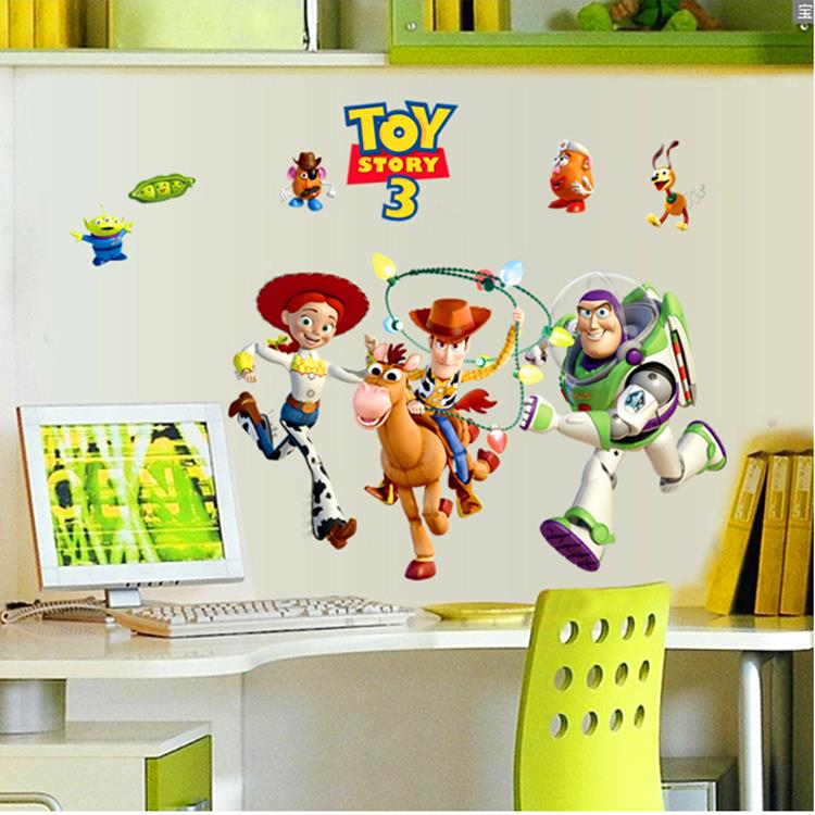 Buzz Lightyear Toy Story Wallpaper Vinyl Wall Stickers For Kids Rooms Home Decor Living Room Sofa Decals Decoration In From