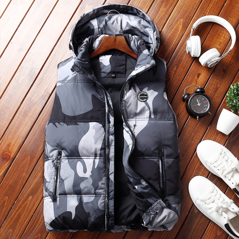2018 Thicken Winter   down   vest men casual hat detachable military camouflage white duck   down     coat   sleeveless jacket for men