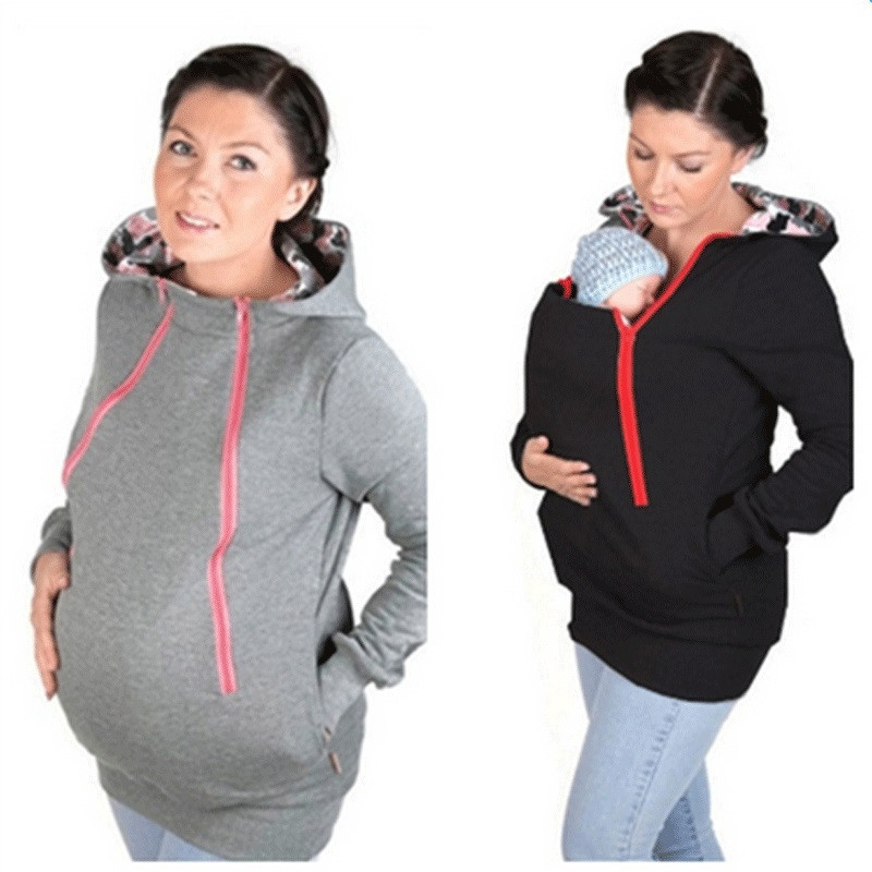Maternal+Baby+Hoodies Baby Carrier Jacket Casual Maternity Wear Kangaroo Hoodies Sweatshirts for Pregnant Woman Maternity Coat