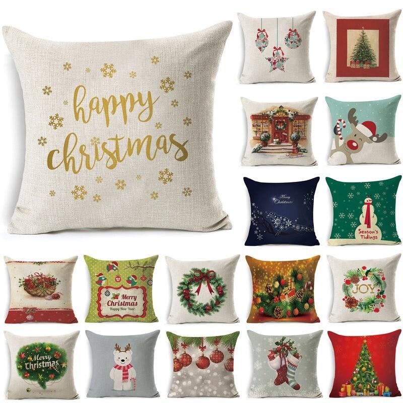 1Pcs 43*43cm Christmas Tree Santa Claus Pattern Cotton Linen Throw Pillow Cushion Cover Home Sofa Decorative Pillowcase 40468
