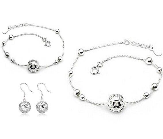 Kadınlar için 100% Gümüş 925 AAA Takı Setleri Bilezik + Halhal + Küpe Katı Gümüş