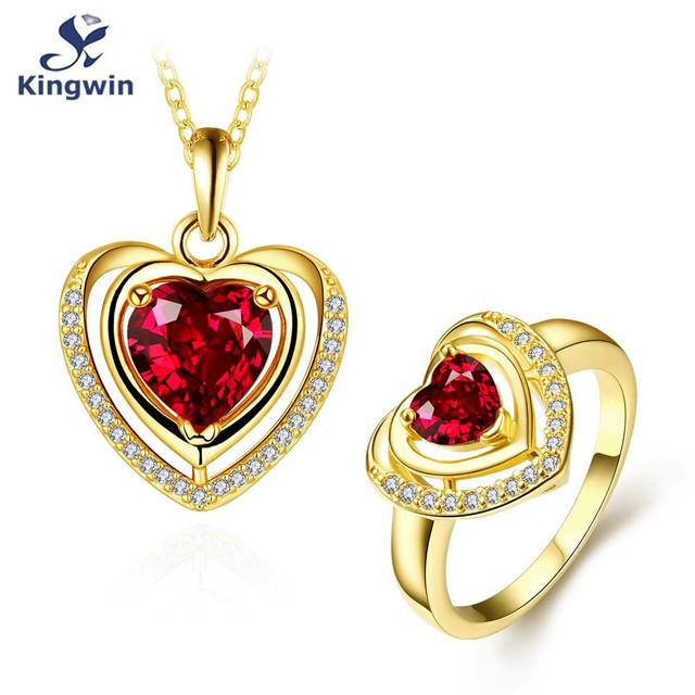 Nuevo diseño del corazón colgante de collar y anillo set de joyas de rubí sintético cz diamond joyería de la boda chapado en oro accesorios