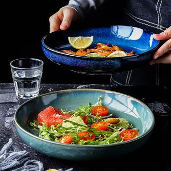 Japoński ceramiczny talerz głęboki okrągły talerz talerz zupy rodzinny talerz na owoce Procelain duży talerz tanie i dobre opinie KINGLANG CN (pochodzenie) ROUND Stałe