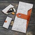 Tipo carteira do telefone móvel para o iphone 7 plus 5.5 polegadas case para iphone 6 6 s 4.7 polegadas sacos de telefone sacos de feltro de lã carteira