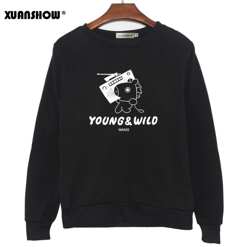 XUNASHOW 2019 Neue BTS J-HOPE MANG Sweatshirts für Männer Frauen Koreanische Lange Hülse Kpop Album Kleidung Cartoon Buchstaben Drucken Tops 5XL
