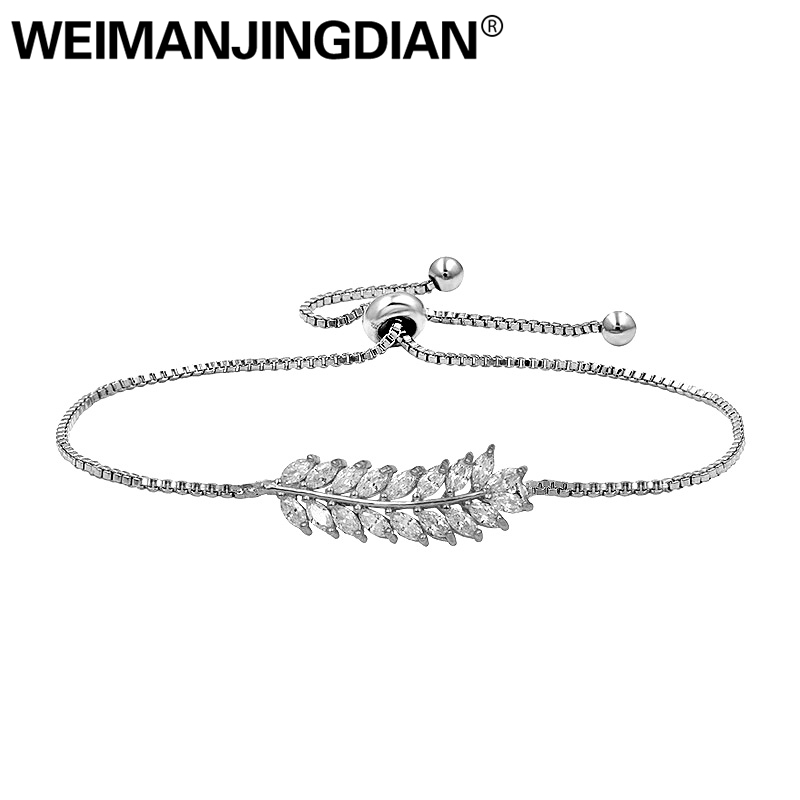WEIMANJINGDIAN Brand High Quality Leaf Shape Cubic Zirconia CZ Crystal Adjustable Bracelets for Women or Wedding Brides