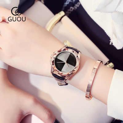 Yeni Ürünler reloj mujer 2017 kadın Lüks Marka GUOU Bayanlar Moda Elbise Saatler Kadınlar Deri quartz saat relogio feminino