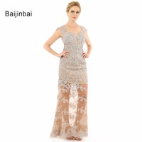New Fashion Women Elegant Sheath Nude Lace Beading Crystal Champagne Long Prom Dress Mother Formal Evening