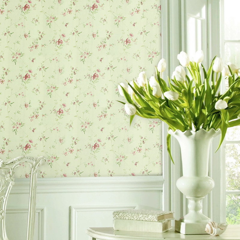 Rural Style Pvc Wallpaper Roll Rustic Small Flower Pattern Light Green Background For Living