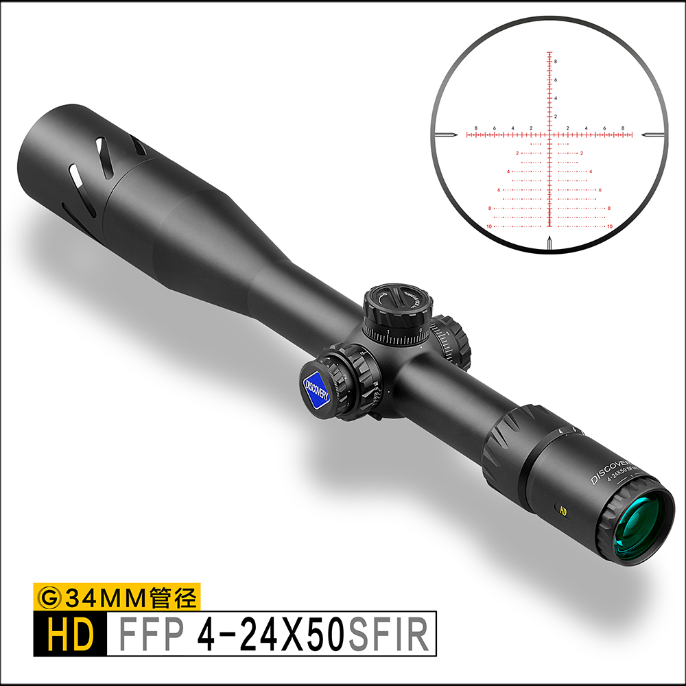Découverte HD 4-24X50SFIR FFP Tir à Longue Portée De Tir Tactique 34mm Tube Premier Plan Focal Fusil Portée étendue parasol