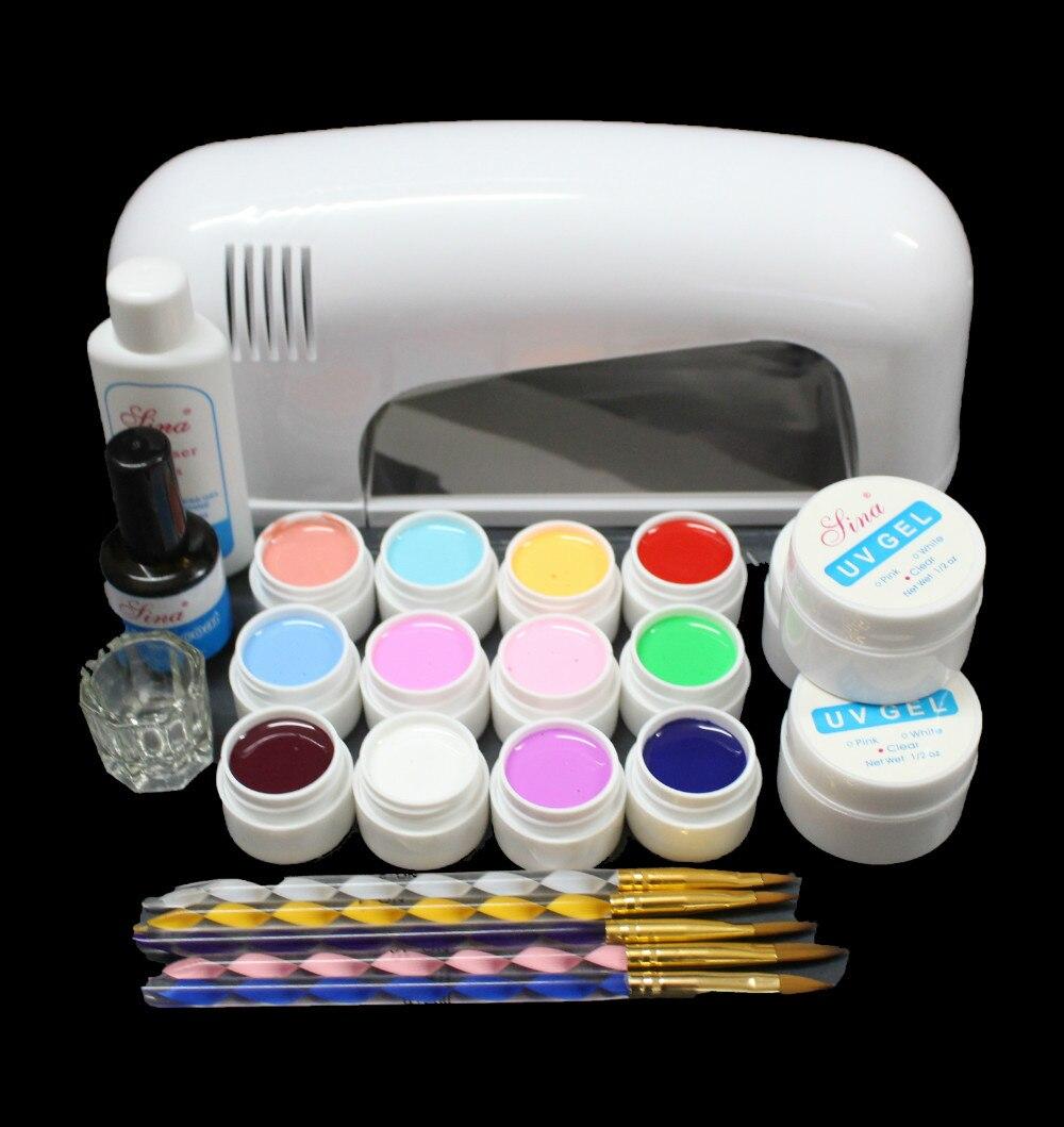 Free Shipping Professional Nail Art Kit Color Uv Gel Full: Nic 120 Free Shipping PRO FULL Nail Art Set 9W UV GEL