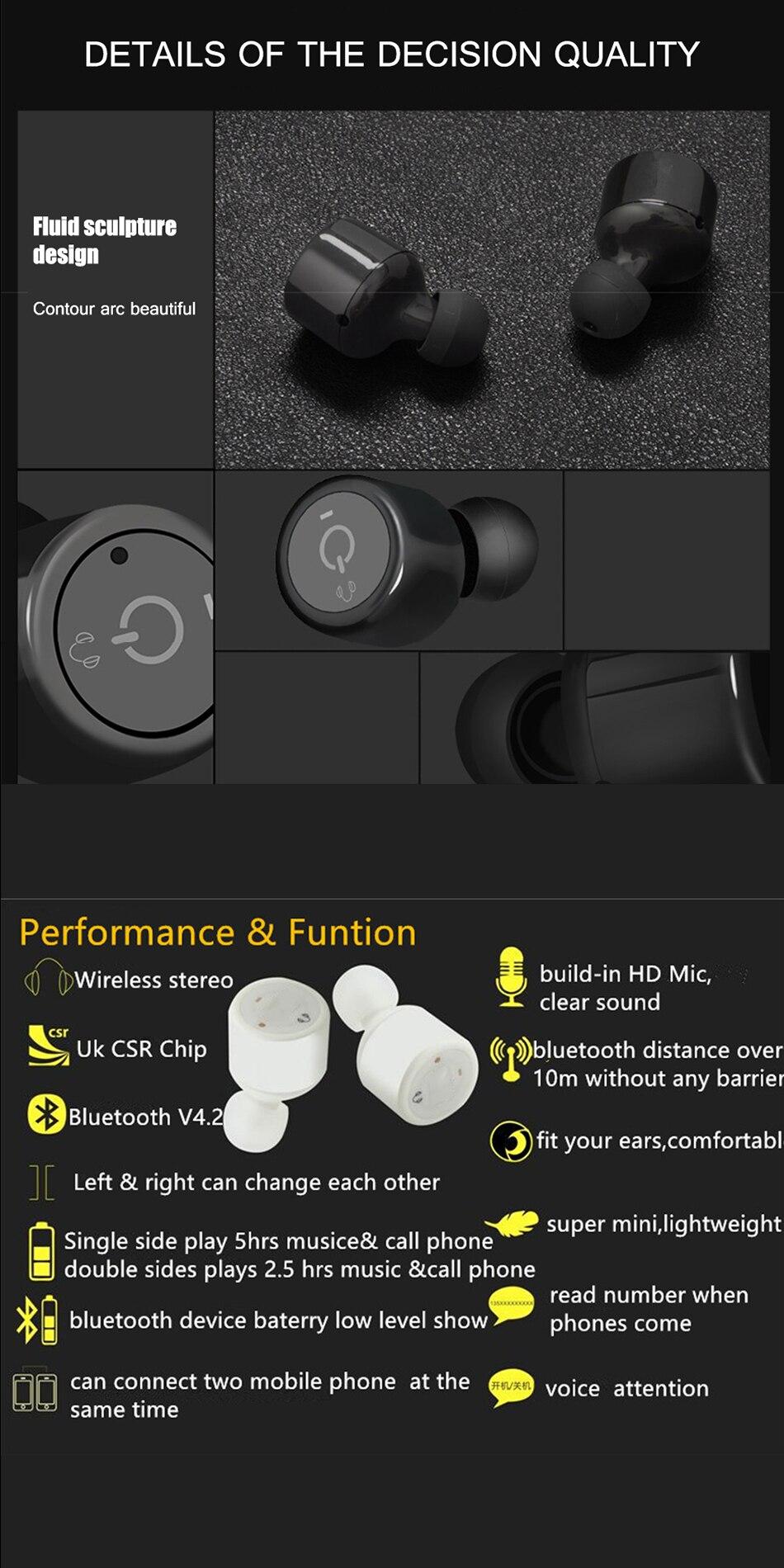 Bluetooth Earphone Sport Bass Stereo CSR 4.2 Wireless Mini Earphones Voice Prompt Earbuds for iphone 7 Xiaomi fone de ouvido