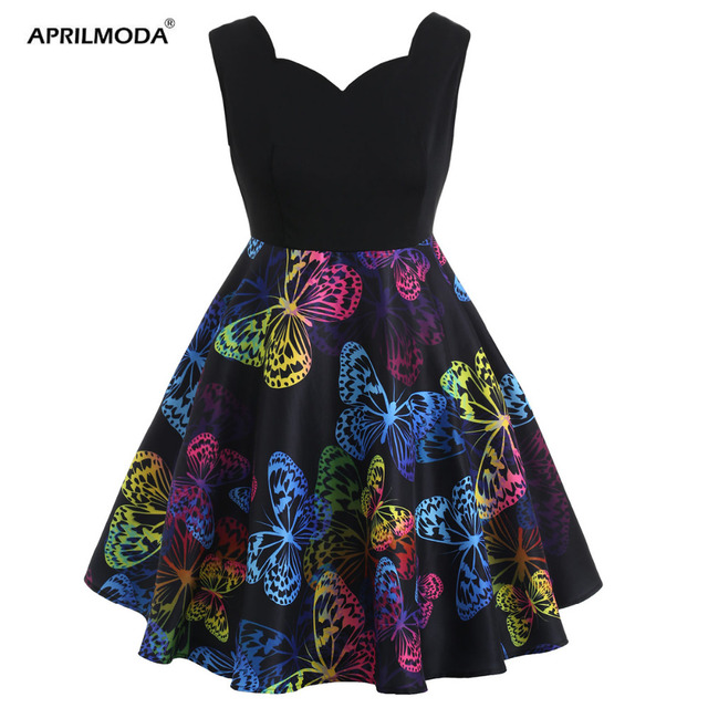 362d7eb9fd US $18.48 40% OFF| 5XL Plus Size Butterfly Print Dress Women Summer 50s  Dress Fashion Sexy Sleeveless Swing Pin Up Vintage Party Dress Vestidos -in  ...