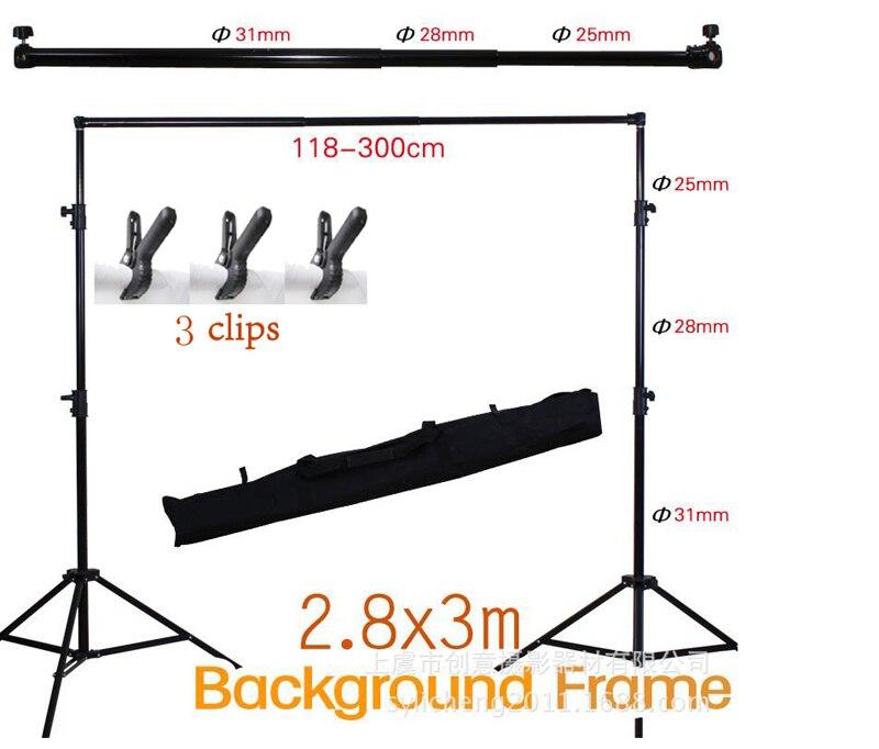 2.8 m X 3 m Pro Réglable Fond Support Stand Photo Toile de Fond Barre Transversale Kit Photographie stand + 3 clips pour photo Studio