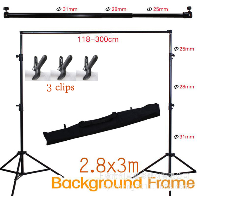 2.8M X 3M Pro Adjustable Background Support Stand Photo Backdrop Crossbar Kit Photography stand +3 clips for Photo Studio photo studio 2 6 3m adjustable background support stand photo backdrop crossbar kit photography equipment
