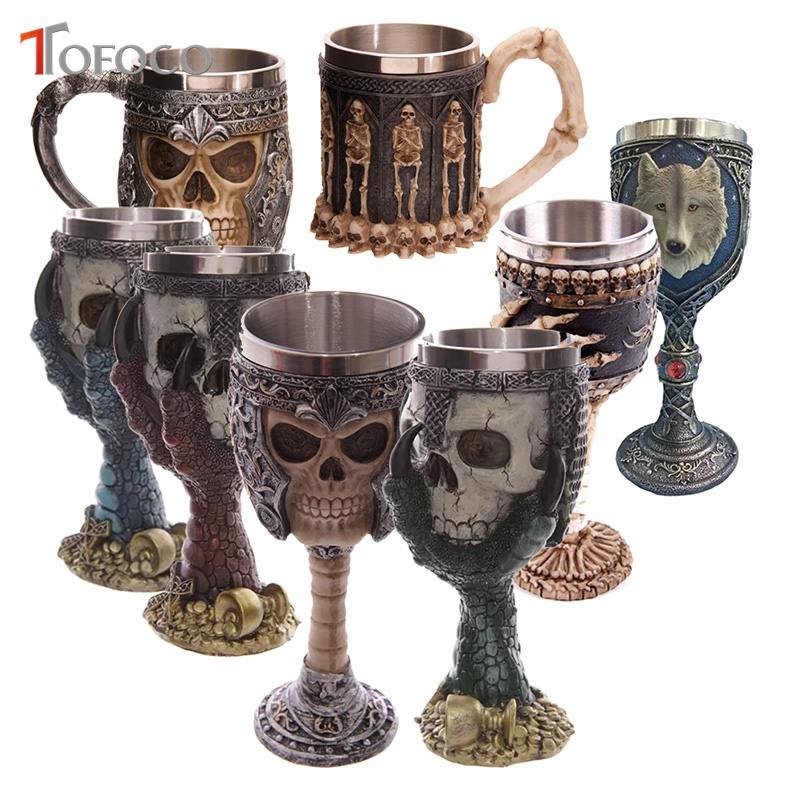 TOFOCO New Stainless Steel Gothic Goblet Halloween Party Drinking Glass 3D Skull Skeleton Claw Punk Toy TyWine Whiskey Cup Prank ...
