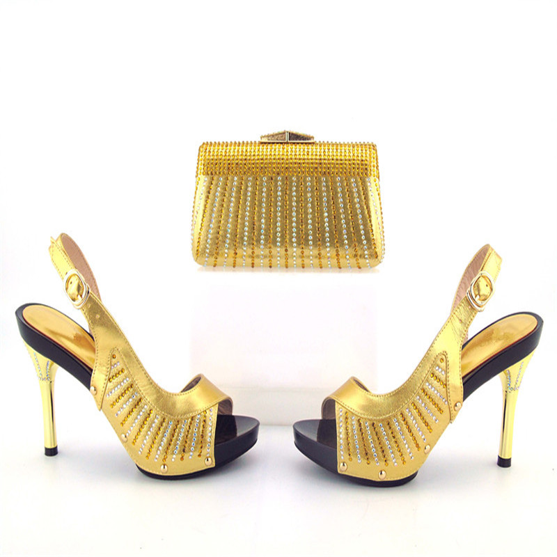 505-7-1 High Quality Gold Rhinestone African High Heels And Bag Set Hot Sale Elegant Italian Shoes and Bag Set Free Shipping 505 7 1 silver beautiful design european ladies shoes and bags sets high quality italian shoes and bag set free shipping