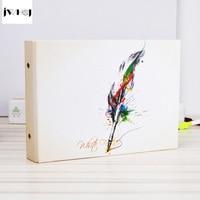 Jwhcj الريشة القلم الألبوم 10 بوصة الصور ألبوم العائلة صورة الذاكرة سجل الألبوم يدويا لزجة نوع سكرابوكينغ هدية التخرج