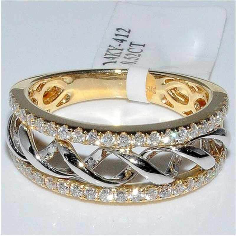 HUITAN New Geometric Women Ring Luxury Golden Color Dazzling Cubic Zircon Engagement For Hollow Design Jewelry