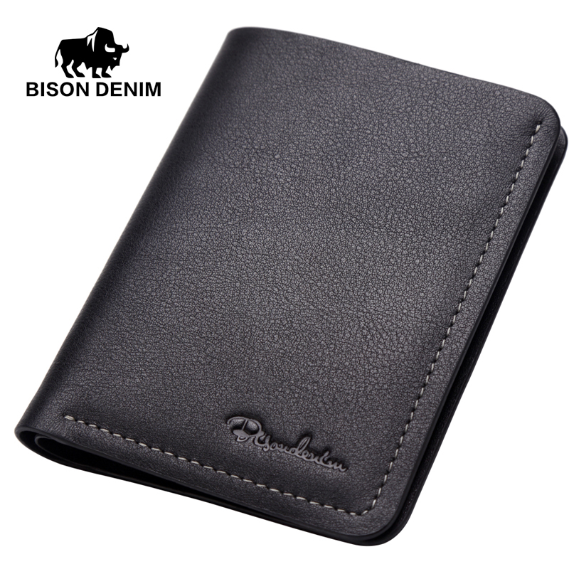 BISON DENIM Genuine Cow Leather Handmade Mens Wallets Male Bifold Card Holder Short Cowhide Purse Leather Wallet For Men N4386 hot sale wholesale and retail promotion luxury oil rubbed bronze bathroom toilet paper holder tissue box wall mounted