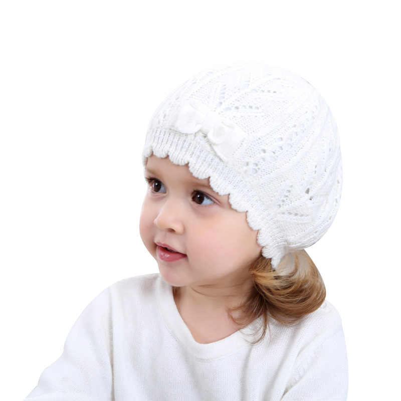 6fb4507dcc6 Knitted White Baby Beret Hat For Girls Bow Pricess Baby Beanie Double Layer  Autumn Winter Girls