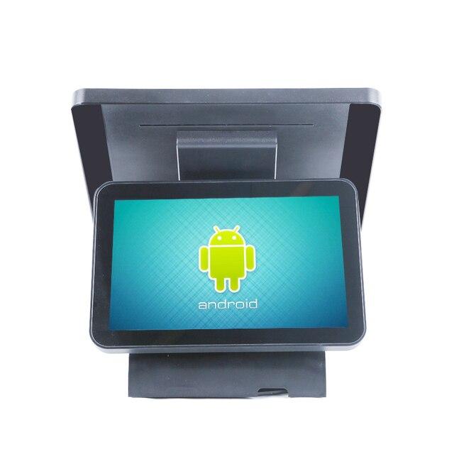 Caisse enregistreuse androïde de contact de double écran de 15 pouces, machine de position de vente au détail/restaurant tout dans un ordinateur 2