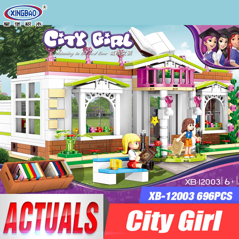 XINGBAO 12003 New 696Pcs City Girl Series The Rainbow Library Set Building Blocks Bricks Funny Toys As New Year Gifts for Kids the girl with all the gifts