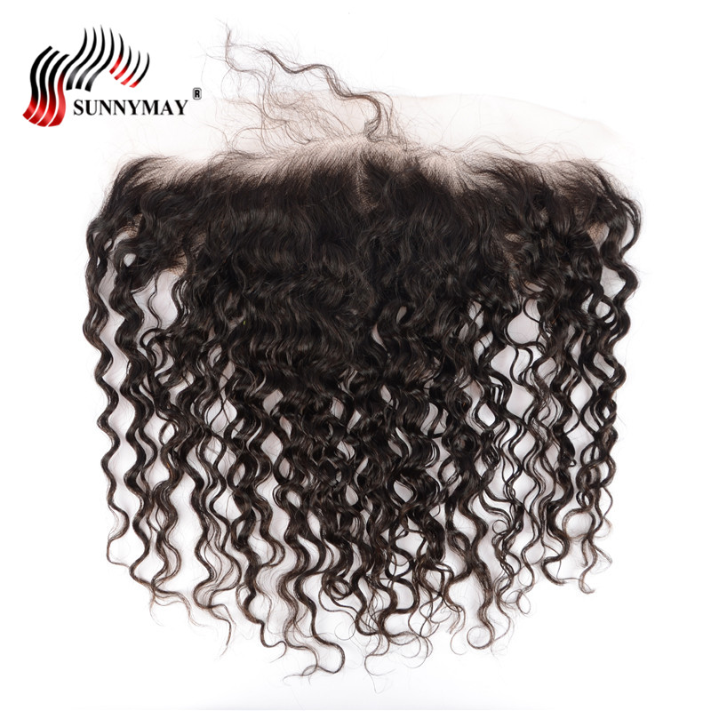Sunnymay Malaysian Loose Curly Lace Frontal 13*4 Ear To Ear Human Hair Lace Closure With ...