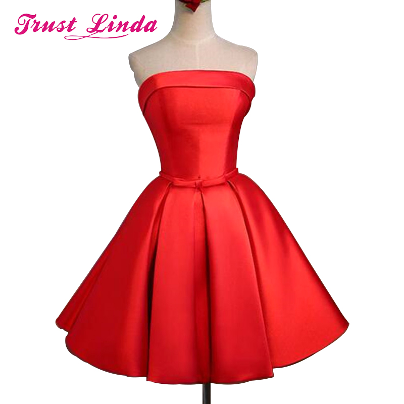 Elegant Two Styles Length Strapless Prom Gown Red Dress For Wedding Party Homecoming Graduation