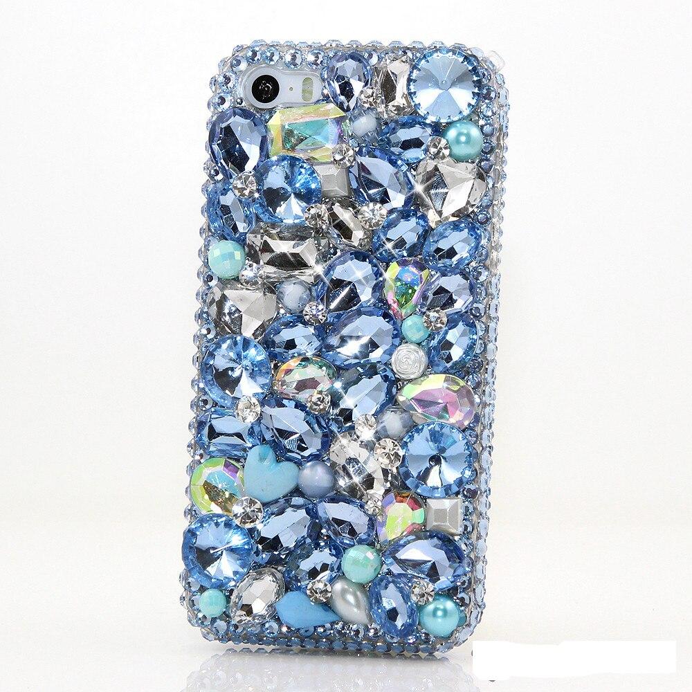 imágenes para Nueva Mujer Azul Rhinestone Hecho A Mano Caso de la Cubierta Del Teléfono Del Diamante Para Samsung Galaxy S6/S7/S8/edge/Plus/J/A3 A5 A7 A8 A9 2016 2017