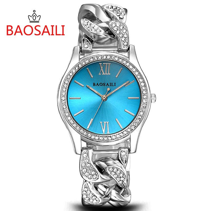 Prix pour BSL915 BAOSAILI Marque Femmes Diamant Montres Dames En Acier Inoxydable Chaîne Montre-Bracelet De Luxe Bracelet Montre relogio