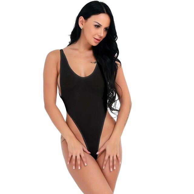 f5e745af142ed6 2019 Sexy Backless One Piece Bodysuit Women See through High Cut Thong  Leotard Sleeveless Lingerie Summer