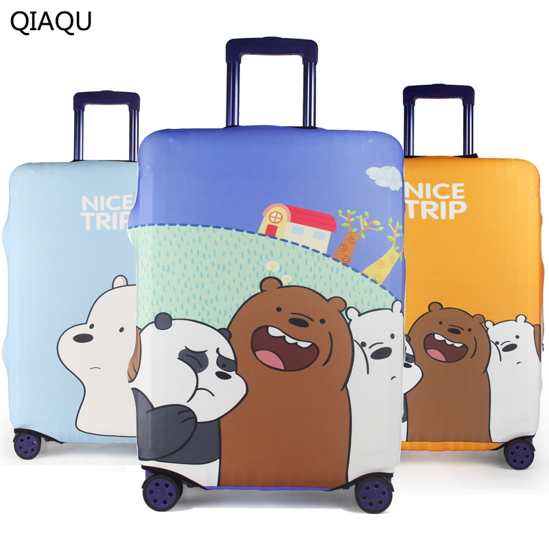 QIAQU Fashion Cartoon Bear Pattern Travel Waterproof 18-32 Luggage Cover Portable Elastic Stretch Protector Suitcase Cover