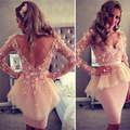 Custom Size 2017 Full Sleeve V-Neck Short/Mini Dress New Pretty Girl's Organza Appliques Formal Gown robe de cocktail Dresses