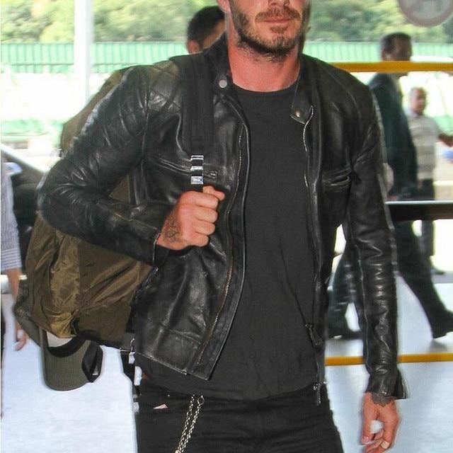 Bakham אמיתי עור זכר עור בגדי אופנוע בגדי עור מעיל דק צווארון עומד קצר עיצוב בקהאם עור