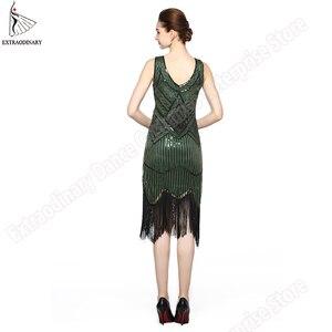 Image 4 - Женское вечернее платье в стиле 1920 х годов, платье в стиле Великий Гэтсби с бахромой, блестками, бусинами и бахромой, вечернее платье с V образным вырезом, украшенное бахромой без рукавов
