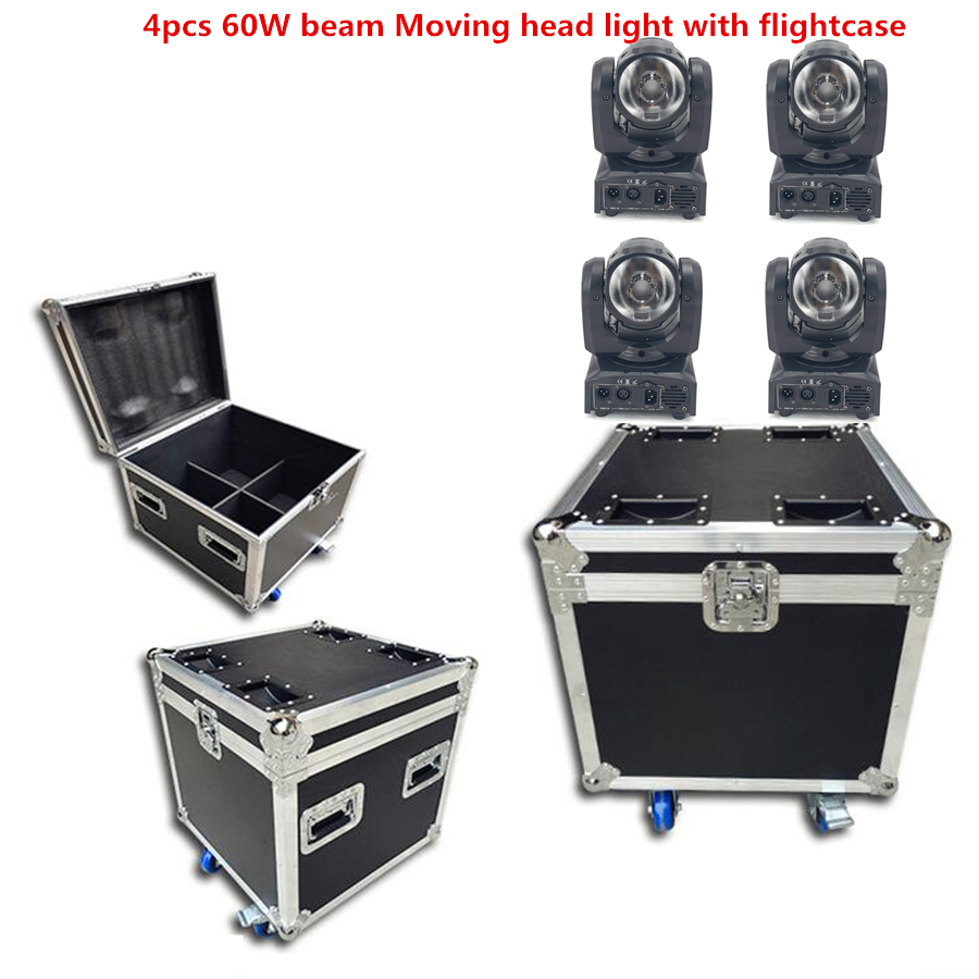 4PCS 60W + Flightcase LED Spot Moving Head Light/USA Luminums  Mini Led Beam Moving Head  60W RGBW 4in1 Beam  LED DJ Spot Light